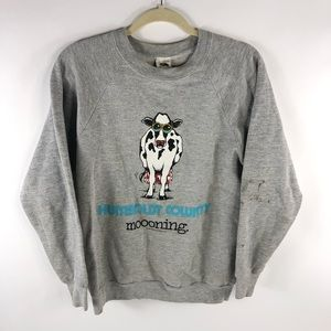 Vintage Humbolt County Moonin Cow Pullover 80's